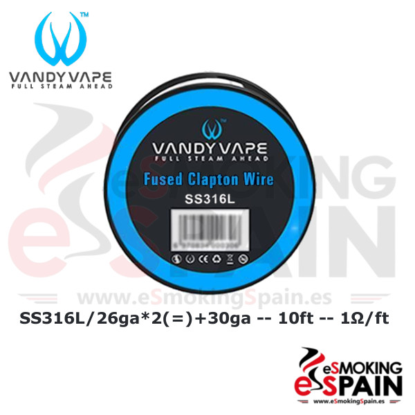 Vandy Vape SS316L SS Fused Clapton Wire 26ga+30ga 10ft (3m)