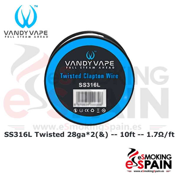 Vandy Vape SS316L SS Twisted Clapton Wire 28ga*2(&)+30ga 10ft (3