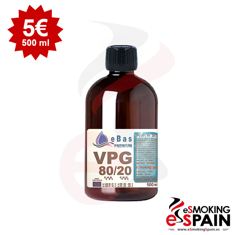 "eBas Premium VPG 80VG/20PG 500ml <img src=""includes/languages/english/images/buttons/icon_newarrival.gif"" border=""0"" alt=""New : eBas Premium VPG 80VG/20PG 500ml"" title="" New : eBas Premium VPG 80VG/20PG 500ml "">"