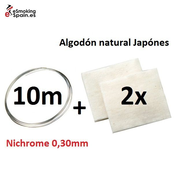 Nichrome 0,30mm (5m) + Algodón natural Japónes 2x