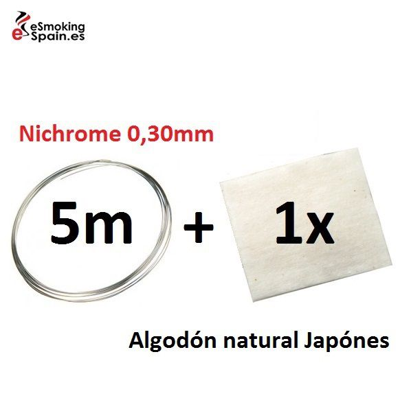 Nichrome 0,30mm (5m) +Algodón natural Japónes