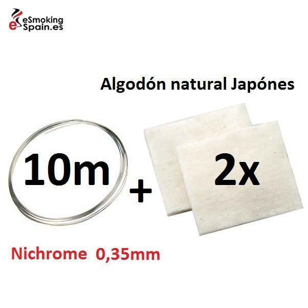 Nichrome 0,35mm (10m) + Algodón natural Japónes