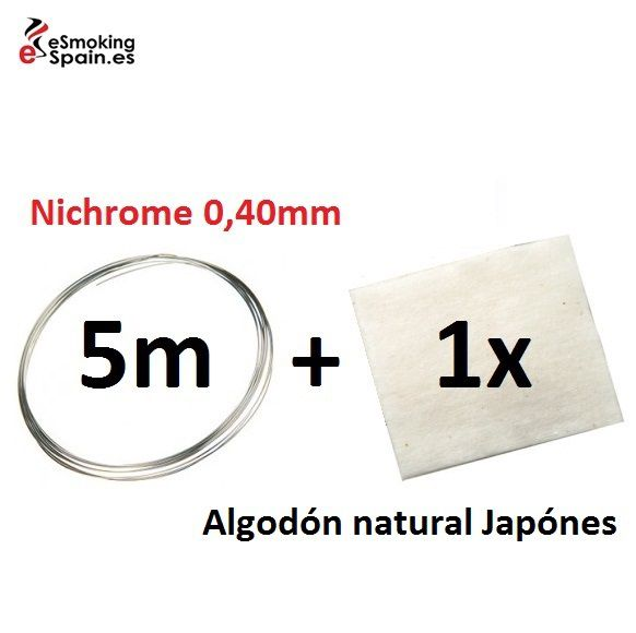 Nichrome 0,40mm (5m) + Algodón natural Japónes