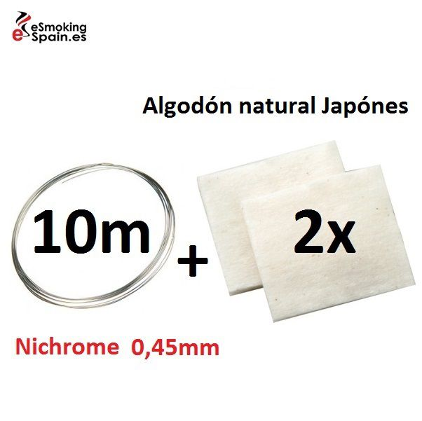 Nichrome 0,45mm (10m) +Algodón natural Japónes
