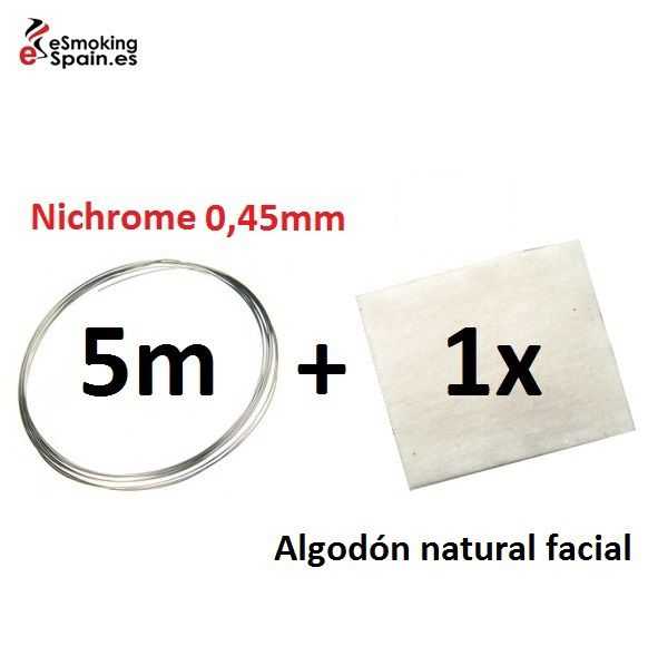 Nichrome 0,45mm (5m) + Algodón natural Japónes