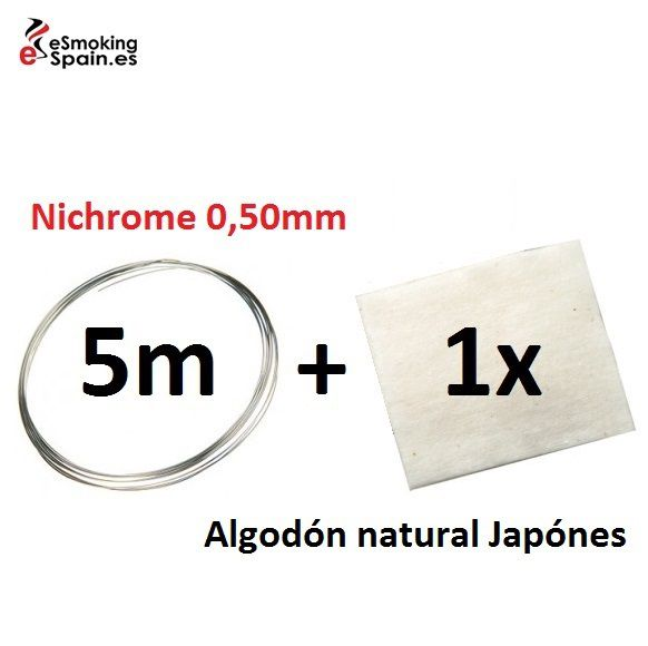 Nichrome 0,50mm (5m) + Algodón natural Japónes